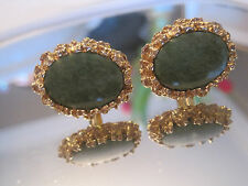 Great Pair of Gold-Tone Oval Cufflinks with Jade Stones, Mint!