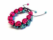Sugar Skull Bracelet Day Of The Dead Macrame Adjustable Unisex Jewelry Blue Pink