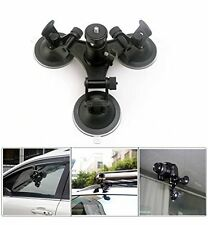 """Car Windshield Triple Vacuum Suction Cup w/Ball Head Tripod 1/4"""" Mount for Gopro"""
