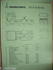 ✪1 altes Original Technisches LKW Prospekt Magirus-Deutz 270 D 22 FS  6x4