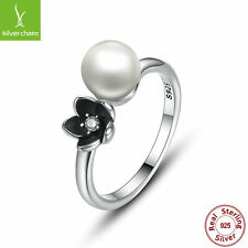 925 Sterling Silver Mystic Floral Stackable Ring With White Pearl For Women Ring