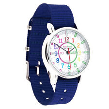 NEW! EasyRead Time Teacher Kids Watch Tell the Time Blue Band - Coloured Face
