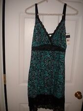 Delta Burke Turq Garden knit short nightgown with black lace NWT 1X