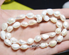 Natural baroque pearls 9-10mm genuine natural white pearl necklace 18 inches