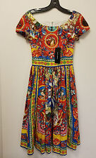 Dolce&Gabbana Carretto Print Cotton Poplin Dress Original:$1495 + tax S - 38/4US
