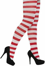 RED AND WHITE STRIPE TIGHTS Christmas Where's wally One Size Ladies fancy dress