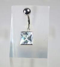 Piercing de nombril 1.6x10mm   strass  carré  acier 316l ( inox)