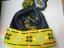 Pittsburgh Steelers Retro TEAM LOGO LED Light up Hat Winter Pom Beanie Knit Cap