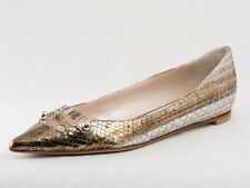 New  Dior Ballerina Python Finished Gold Leather Shoes 37 US 7