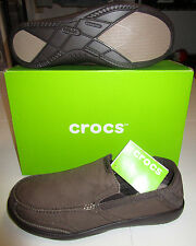 Nwt Mens Crocs Walu Luxe Brown Canvas Loafer Slip On Casual Shoes Loafers 13