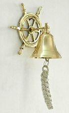 Door Bell Wall Hanging Vintage Marine Nautical Brass Wheel Ship Bell Calling