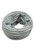 Grey Women Lady Knit Neck Circle Cowl Warmer Scarf Shawl Wrap Loop Winter SE