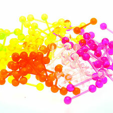 Wholesale Pack 100pcs Acrylic Glow-in-Dark UV Reflective Tongue Straight Barbell