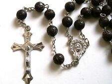 Rosary -  acrylic beads prayer beads rosary  - Rosary Crucifix Necklace in gray
