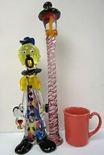 Large Murano Italian Pilgrim Art Glass Signed Mario Sandon Clown under Lamppost!