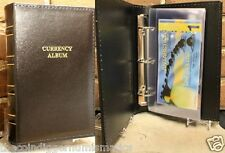Lighthouse LEATHER Modern Currency Album w/ 30 Binder Pages Banknote Sheets