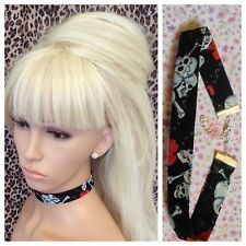 BLACK SKULL RED ROSE COTTON FABRIC CHOKER NECKLACE 2cm METAL CHAIN RETRO GOTH