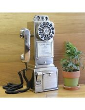 Retro Wall Phone Silver Telephone Rotary Payphone Vintage Coin Kitchen Old Vtg