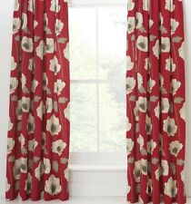 "100% Cotton Poppy Red Curtains 229x229cm 90x90"" Pencil Pleat Ring Top, Sale!"
