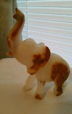 "Elephant, Carved Onyx, Raised Trunk, Tusks, 4 1/2"" long x 5 1/2"" high"
