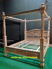 Real TEAK WOOD 6' Super King size naturel rustic style Four poster canopy Bed
