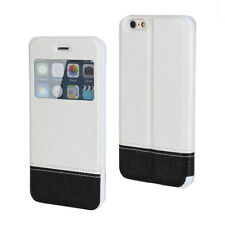 Black/White Book Slim Window Style Flip Case Cover for iPhone 6 Plus/6s Plus