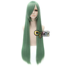 100CM Long Straight Women Light Green Fashion Party Hair Anime Cosplay Wig