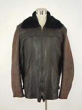 1970s UBER Vintage Brown Buckskin Pile-lined Western Zipper Jacket Large L