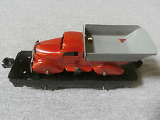 Marx Tin Plate Flat Car with Red & Gray Truck - Rare Vintage