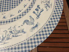 "TABLECLOTH CO 60"" farmyard animals wipe clean wipeable oilcloth vinyl  ROUND"