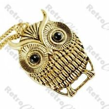 "CUTE RETRO OWL PENDANT antique gold plated 30""LONG CHAIN NECKLACE vintage style"