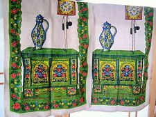 2 BLUE GREEN RETRO Clock coffee/teapot  Vintage LINEN TEA TOWELS bright flowers