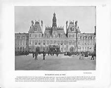 PLACE HOTEL DE VILLE PARIS  FACADE   ANTIQUE PRINT 1901