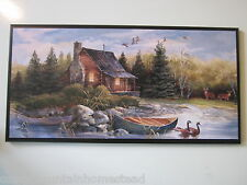 Cabin Rustic Style Wall Decor Plaque Country sign picture deer Hunting Lodge