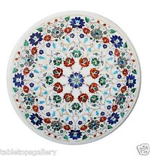 "30""x30"" White Marble Coffee Round Table Top Marquetry Inlay X-mas Decor H1475"