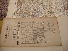 MANCHESTER-LIVERPOOL-CHESTER-EDWARDIAN ORDNANCE MAP:1904-13 RARE RELIEF SHADED