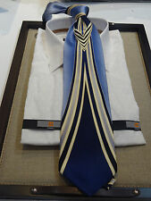Mezzo Matto Silk Tie Necktie Sky Blue Navy royal Blue Cream Art Deco