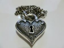 LARGE SKELETON KEY LOCK SOLID PUFFED HEART QUEEN BABY BIKER GOTHIC NECKLACE