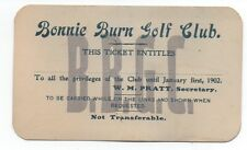 1902 Pass for the Bonnie Burn Golf Club