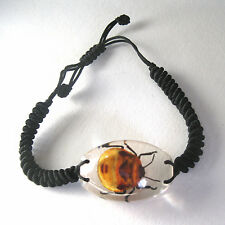 Real Flower Bug Insect Oval Glass Goth Bracelet Strange Gift