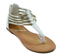 Women Roman Gladiator Gold Ankle Strap Low Heels Thong Summer Sandals NEW Shoes