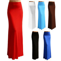 Women Sexy High Elastic Waist Foldover Jersey Dress Long Maxi Slim Skirt Dresses
