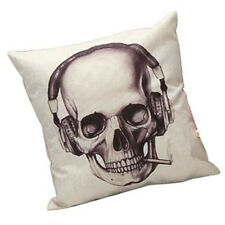 Creative Earphone Skull Pattern Pillow Case Sofa Waist Cushion Cover Home Decor