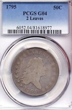 1795 Flowing Hair Half Dollar PCGS G 04 coin coins silver 2 leaves 50 cent