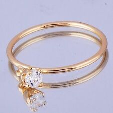 Trendy Womens Clear Crystal Charm 14K gold filled Flower Band Ring Size 8