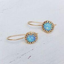 14K Gold Filled Dangle Opal Earrings Blue Opal CLASSIC Earrings WOMEN