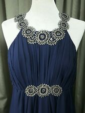 Monsoon 100% Silk Navy Evening Party Cocktail Beaded Dress UK8