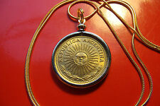 "Antique Excellent Golden Bronze Sun Coin on a 24 "" Gold Filled Snake Chain"