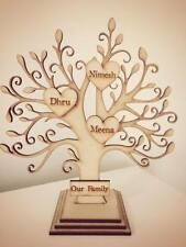 Personalised wooden family tree on stand smoked effect 15 names NEW