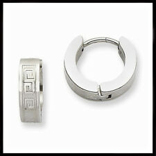 Men's or Ladies Chisel Stainless Steel Greek Key Hinged Hoop Huggie Earrings